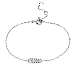 Mini Bar Diamond Bracelet in 14k White Gold
