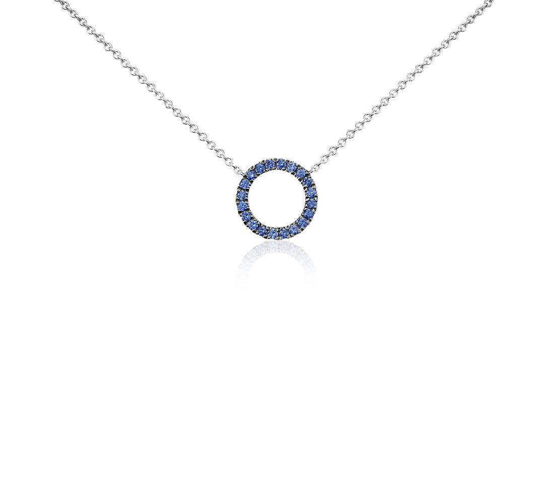 Mini Sapphire Circle Pendant in 14k White Gold