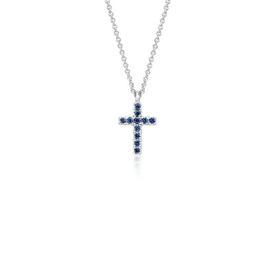 Mini Sapphire Cross Pendant in 14k White Gold