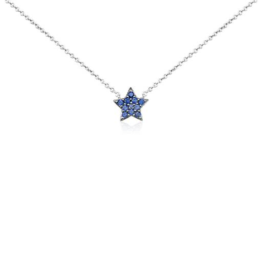 Mini Sapphire Star Pendant in 14k White Gold