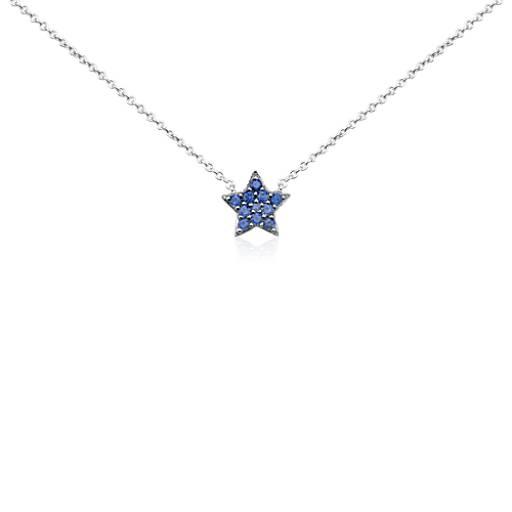Minicolgante con estrella de zafiro en oro blanco de 14 k (1mm)