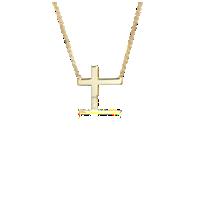 NUEVO. Collar con cruz pequeña, en oro amarillo de 14k