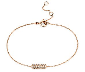 Mini Bar Diamond Bracelet in 14k Rose Gold