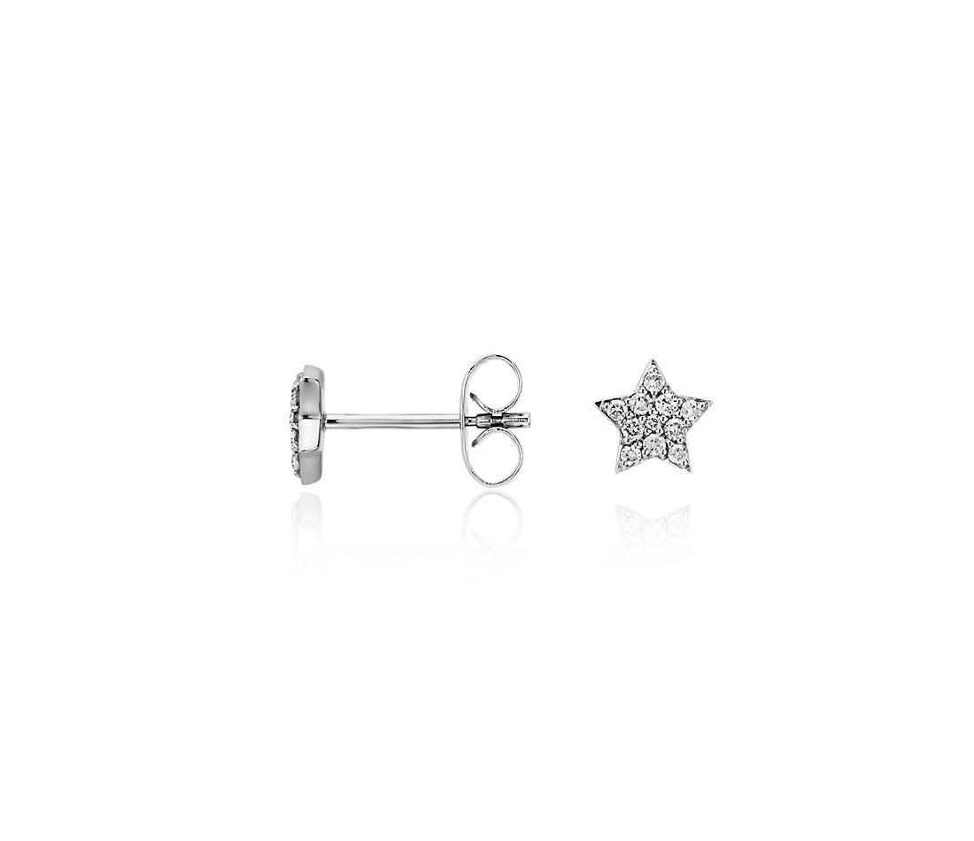 Mini Star Diamond Earrings in 14k White Gold