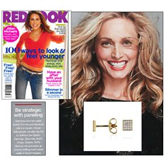 Redbook: Mini Diamond Square Stud Earrings in 14k Yellow Gold