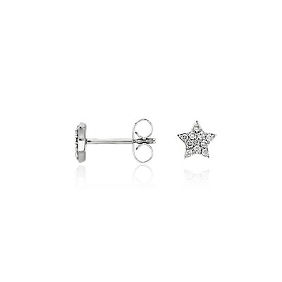 Mini Star Diamond Earrings in 14k White Gold (1/10 ct. tw.)