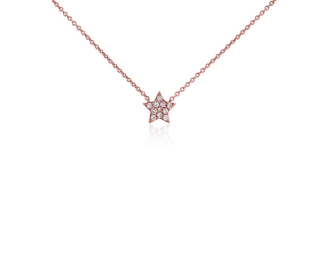 Collar pequeño de diamantes en forma de estrella en oro rosado de 14k