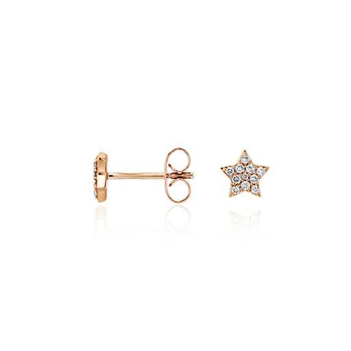 Mini Star Diamond Earrings in 14k Rose Gold