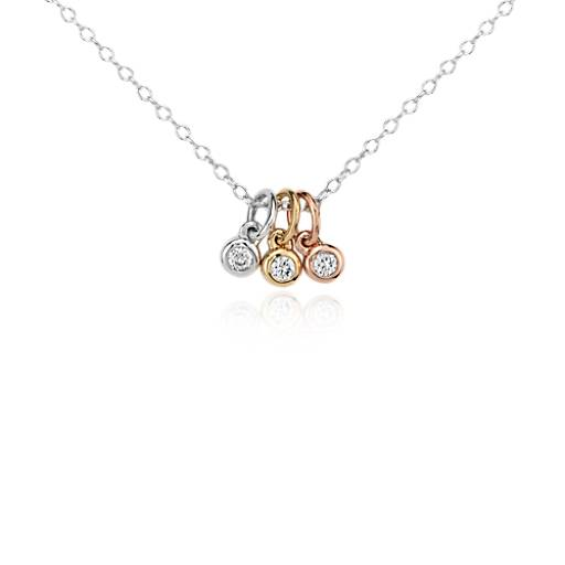 Mini Trio Diamond Bezel Pendant in 14k Tri-Color Gold