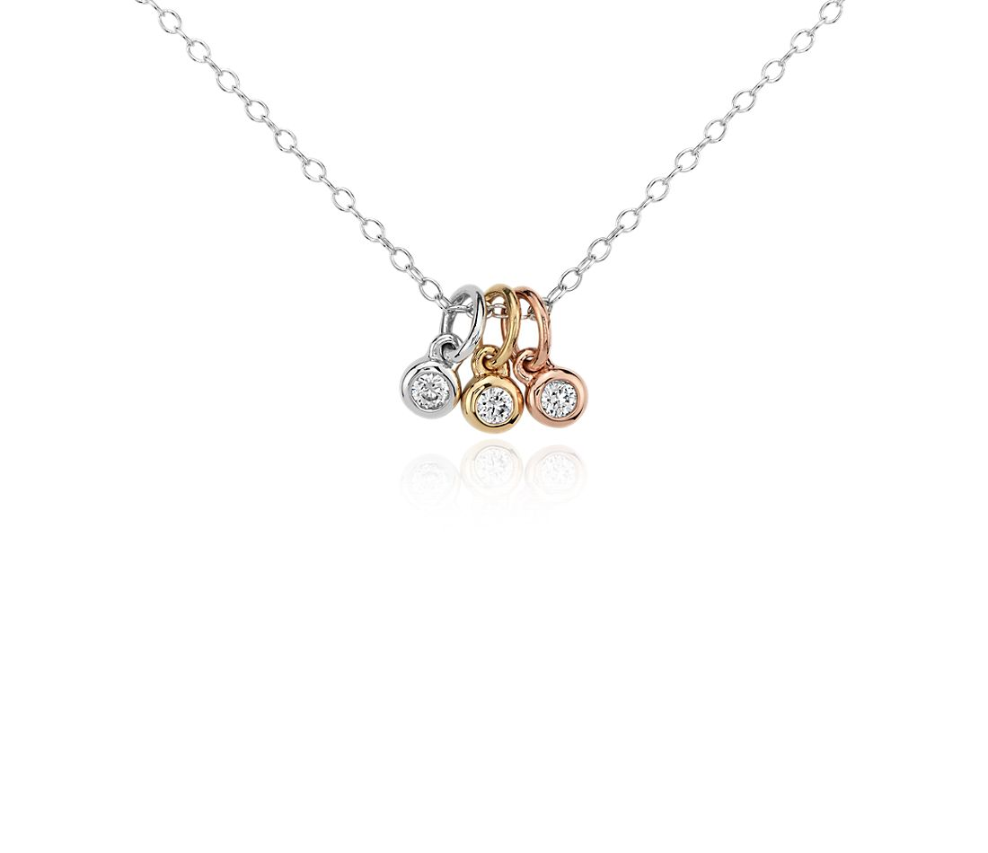 Mini Trio Diamond Bezel Pendant in 14k Tri-Color Gold (1/10 ct. tw.)