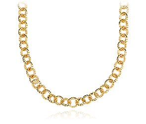 Mini Tubogas Link Necklace in 14k Yellow Gold