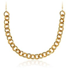 Mini Tubogas Link Bib Necklace in 14k Yellow Gold