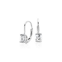 Mini White Quartz Drop Earrings in Sterling Silver