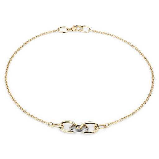 Mixed Link Two-Tone Necklace in 18k Yellow and White Gold