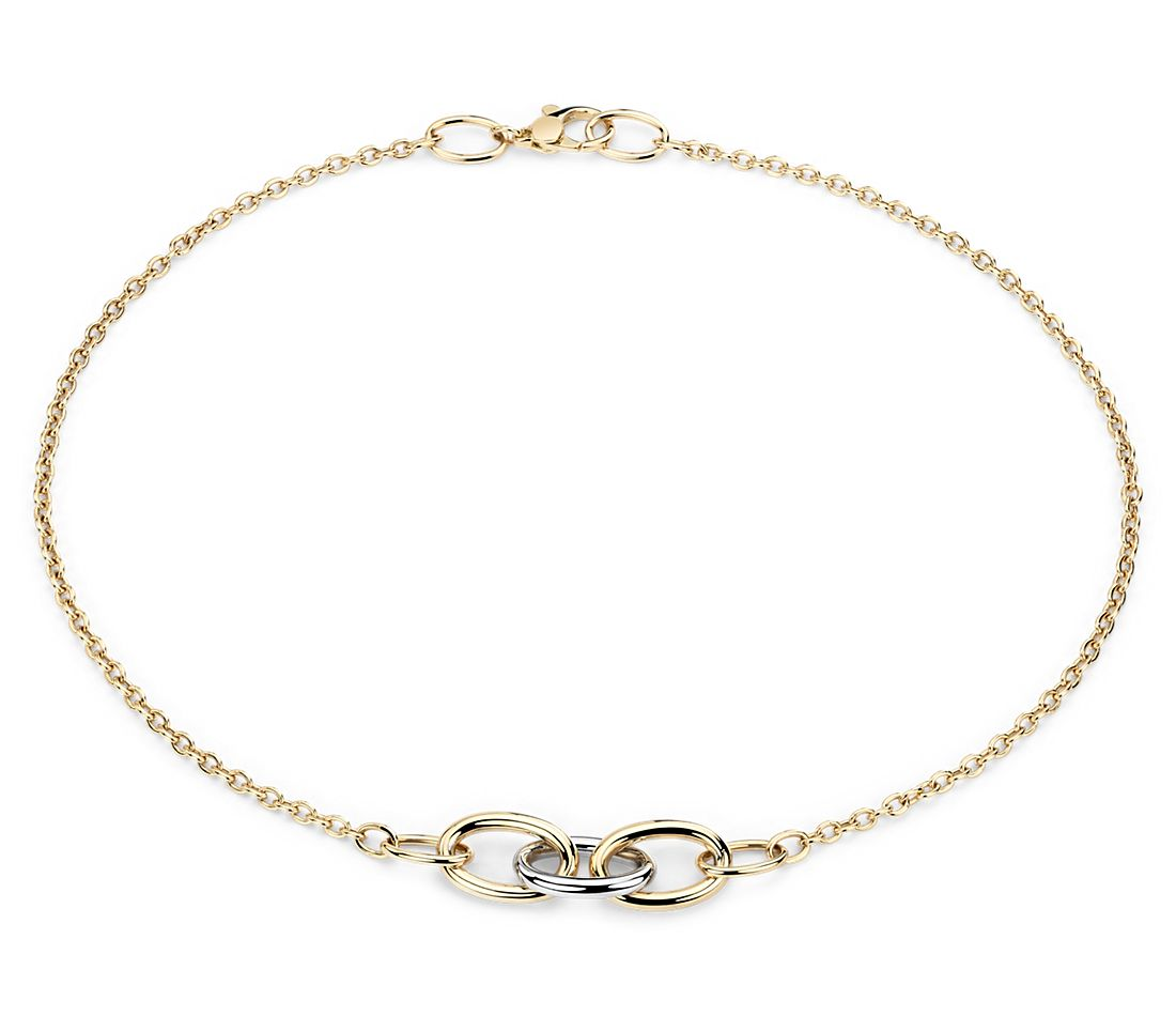 mixed link two tone necklace in 18k yellow and white gold