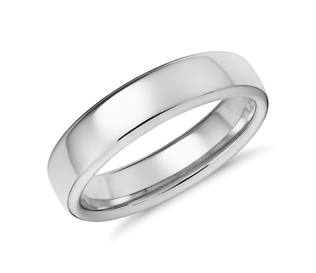 Modern Comfort Fit Wedding Ring In 14k White Gold 55mm