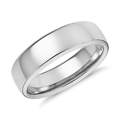 Alliance moderne et confortable en or blanc 14 carats (6,5 mm)