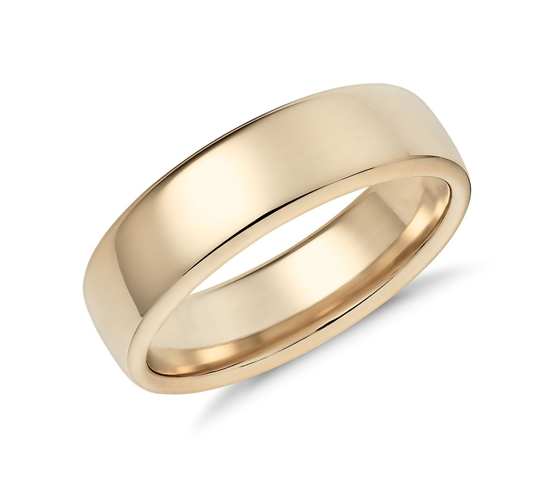 modern comfort fit wedding ring in 14k yellow gold blue nile