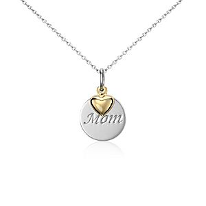 """Mom"" Pendant in Sterling Silver with 14k Yellow Gold Heart Accent"