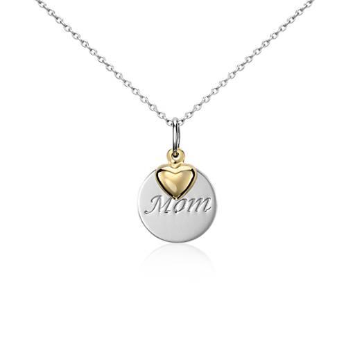 Pendentif «Mom» en argent sterling rehaussé de Cœur en or jaune 14carats