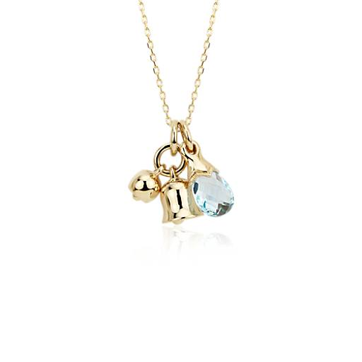Monica Rich Kosann Something Blue Bell Charm  Pendant in 18k Yellow Gold