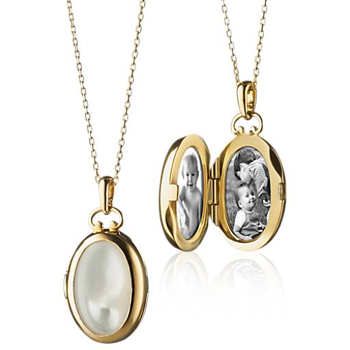NEW Monica Rich Kosann Petite Mother of Pearl Oval Locket in 18k Yellow Gold