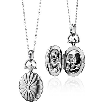 Monica Rich Kosann Scalloped Oval Locket with White Sapphires in Sterling Silver