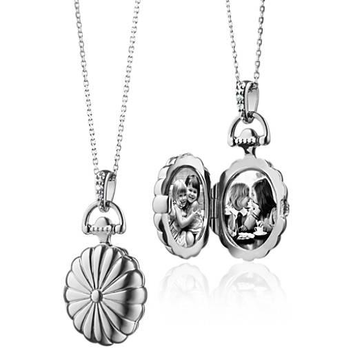 Médaillon ovale festonné avec saphirs blancs Monica Rich Kosann en argent sterling
