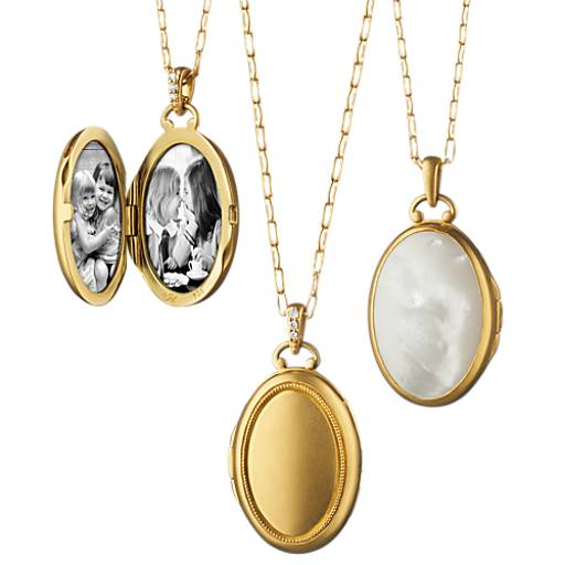 NEW Monica Rich Kosann Oversized Mother of Pearl Oval Locket in 18k Satin Yellow Gold