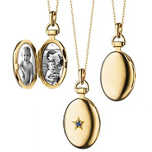 Monica Rich Kosann Sapphire Petite Oval Locket 18k Yellow Gold (2mm)