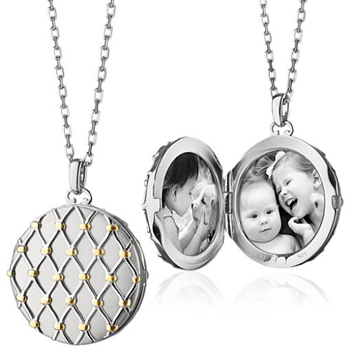 NEW Monica Rich Kosann Two-Tone Basket Woven Locket in Sterling Silver and 18k Yellow Gold (Limited Edition)