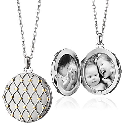 Monica Rich Kosann Two-Tone Basket Woven Locket in Sterling Silver and 18k Yellow Gold (Limited Edition)