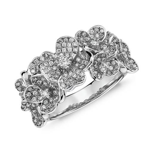 Monique Lhuillier Floral Diamond Ring in 18k White Gold