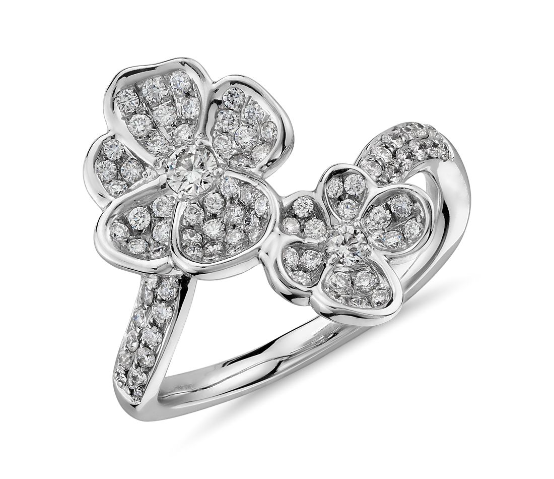 Monique Lhuillier Diamond Floral Wrap Ring in 18k White Gold