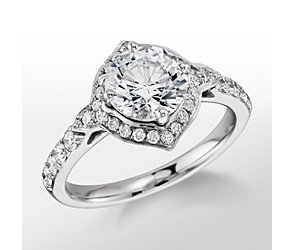 Monique Lhuillier Art Deco Halo Engagement Ring