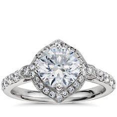 Monique Lhuillier Art Deco Halo Engagement Ring in Platinum