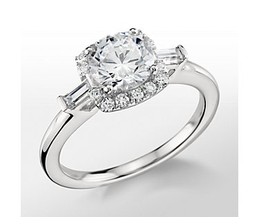 Monique Lhuillier Halo Baguette Diamond Engagement Ring