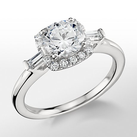 Monique Lhuillier Baguette Halo Engagement Ring