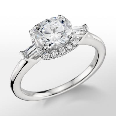 Monique Lhuillier Baguette Halo Engagement Ring in Platinum