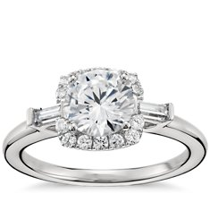 Monique Lhuillier Baguette Halo Diamond Engagement Ring in Platinum