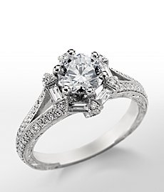 Monique Lhuillier Hexagon Baguette Diamond Engagement Ring