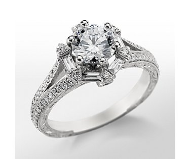 Monique Lhuillier Baguette Hexagon Engagement Ring