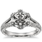 Monique Lhuillier Hexagon Baguette Diamond Engagement Ring in Platinum