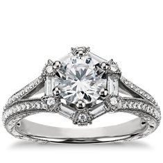 Monique Lhuillier Baguette Hexagon Engagement Ring in Platinum