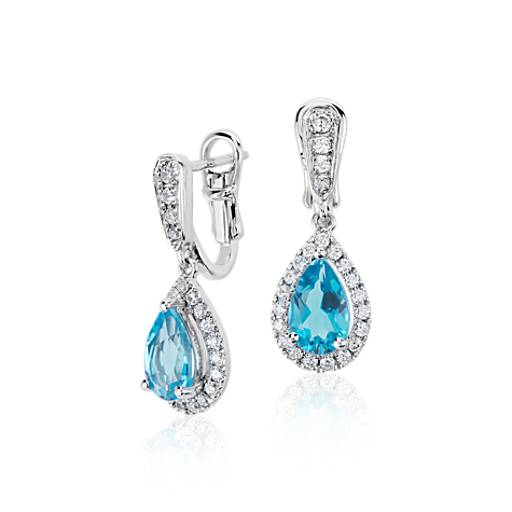 NEW Monique Lhuillier Something Blue Topaz and Diamond Pear-Shaped Earrings in 18k White Gold