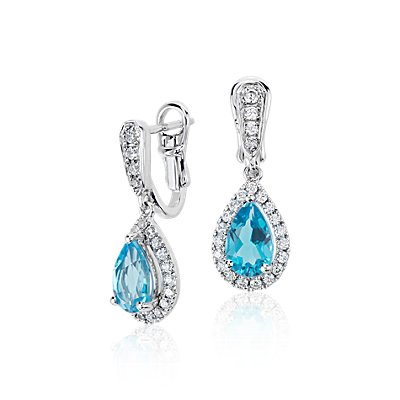 Monique Lhuillier Something Blue Topaz and Diamond Pear-Shaped Earrings in 18k White Gold