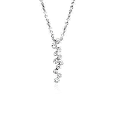 Pendentif diamant en cascade Monique Lhuillier en or blanc 18carats (1/4carat, poids total)