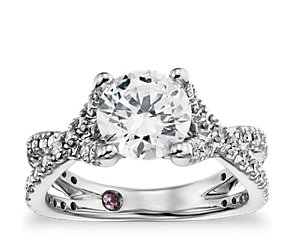 Monique Lhuillier Twist Cathedral Diamond Engagement Ring in Platinum