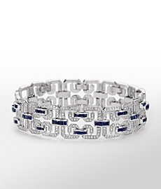 Monique Lhuillier Sapphire and Diamond Wide Deco Bracelet