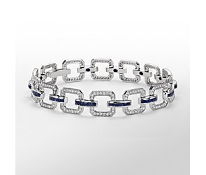 Monique Lhuillier Sapphire and Diamond Geometric Bracelet